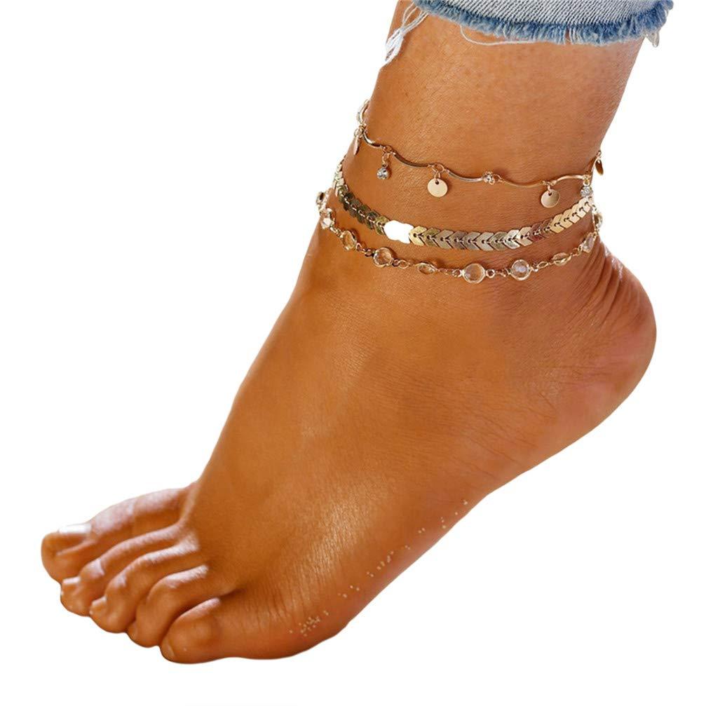 Myhouse 3 Pcs/Set Bohemian Arrow Rhinestone Foot Chain Sandal Beach Barefoot Anklet for Women Girls, Gold Color