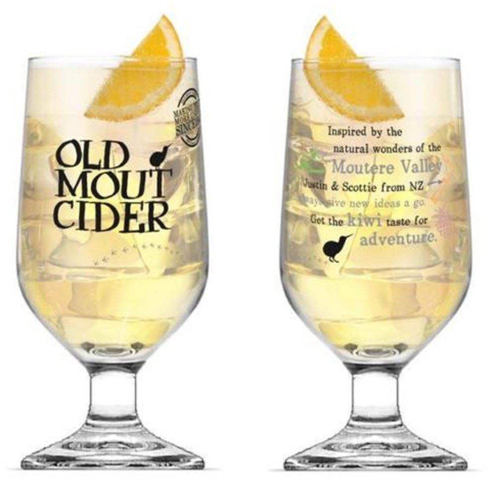 Old Mout Cider CE Marked Stemmed Pint Glasses 20 ounce (Set of 2) Old Mout Cider Glass x 2