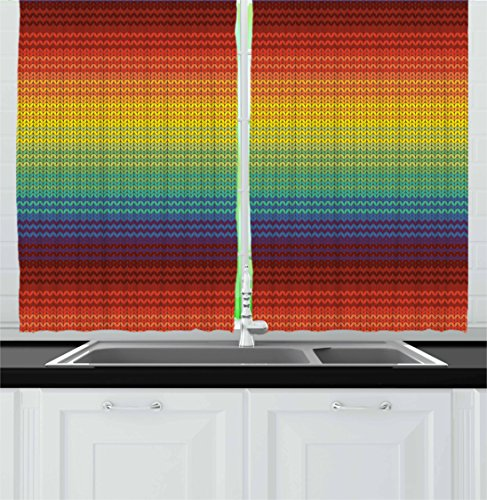 Bedroom Furniture Mexican (Lunarable Striped Kitchen Curtains, Mexican Knitting Pattern Inspired Vibrant Colored Chevron Latin American Culture, Window Drapes 2 Panel Set for Kitchen Cafe, 55 W X 39 L Inches, Multicolor)