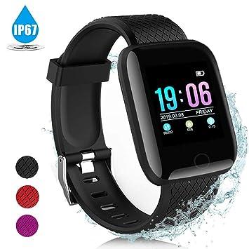 AIGUO Pulsera Actividad Inteligente, Smart Watch, Pulsera Inteligente, IP67 Impermeable, monitorizador de Actividad Pantalla Colorida con Monitor de ...