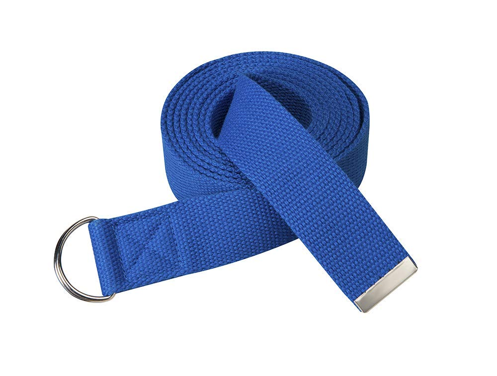 Studio Fit - 10-Pack Yoga Straps - 6, 8 or 10 Feet - Adjustable D-Ring Buckle - for Stretching, Flexibility and Exercise - Durable, Thick Cotton (Blue, 8')