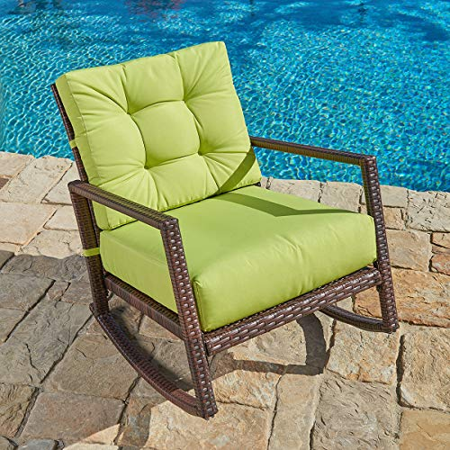 (SUNCROWN Outdoor Furniture Lime Green Patio Rocking Chair | All-Weather Wicker Seat with Thick, Washable Cushions | Backyard, Pool, Porch | Smooth Gliding Rocker with Improved Stability)