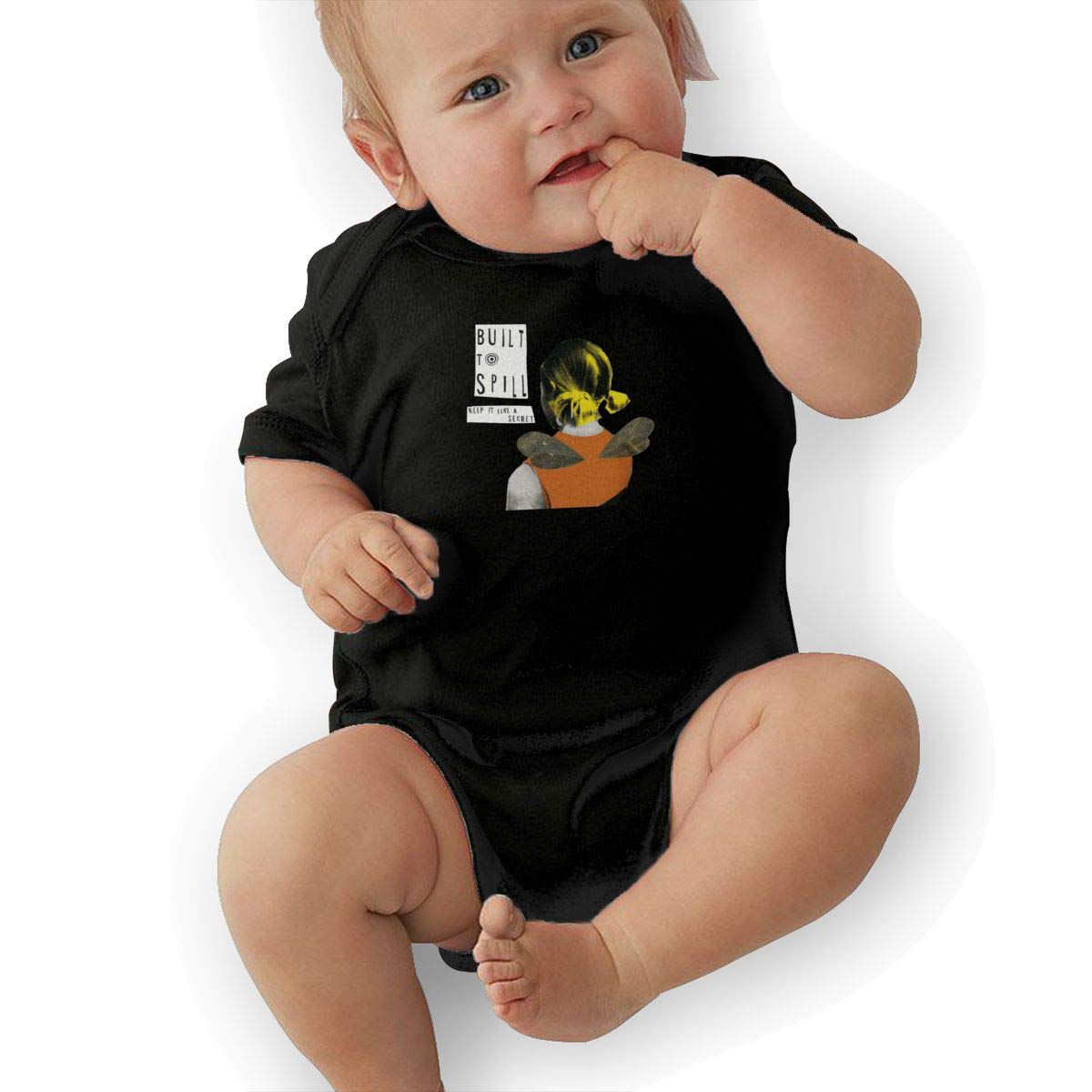Built-to-Spill-Keep-It-Like-A-Secret Kids Baby T Shirt Cute Short Sleeve Hooded Romper Jumpsuit Baby Crawler Clothes Black