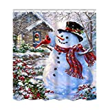 72x72 inches Winter Holiday Merry Christmas Happy Snowman and Cardinals Shower Curtain by Messagee New Waterproof Polyester Fabric Bath Curtain (Shower Rings Included)