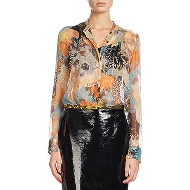 0b51dc0dcc DRIES VAN NOTEN Calfier  Navy Floral Print Silk Chiffon Blouse at ...