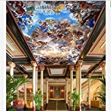 LHDLily 3D Wallpaper Mural Wall Sticker Thickening Custom The Classical Style Luxury Palace Painting Ceiling Frescoes Decoration Wall Paper 400cmX300cm