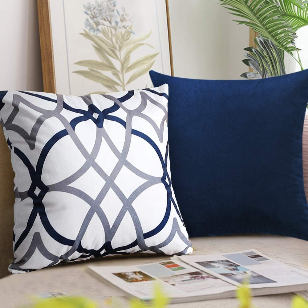 H.VERSAILTEX Original Velvet Cushion Covers 18x18 Mix and Match (Set of 2) Decorative Throw Pillow Covers for Living Room/Sofa/Couch Bed (Navy/Grey&Navy)