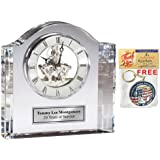 Personalized Crystal Contour Arch Desk Table Mantel Clock with Engraving Plate. Unique Anniversary Wedding Gift, Corporate Business Employee Service Retirement Appreciation Award and Birthday Graduation Gift