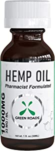 Hemp Oil Drops Green Roads World 1000mg 100% Natural Extract, Anti-Anxiety and Anti-Stress
