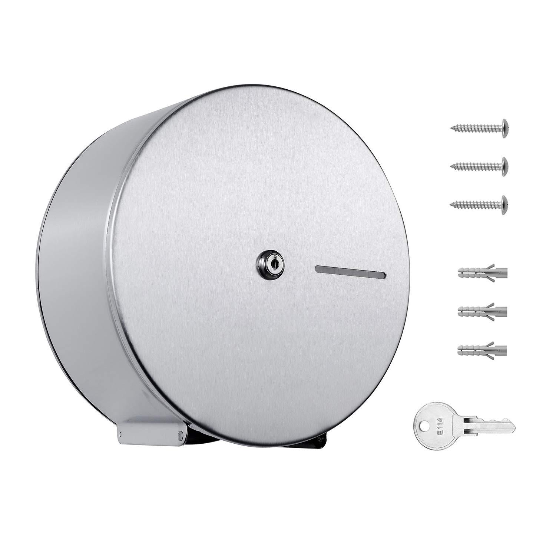Pack of 6 - Jumbo Roll Toilet Paper Dispenser - Lockable Design - 304 Grade Stainless Steel - 9'' Roll Capacity