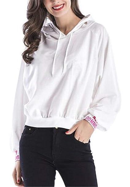 Camicia con Cappuccio Mujer Elegantes Moda Primavera Casual Anchas Otoño Sudadera Capucha Basic Encapuchado Manga Larga Streetwear Swag Sudaderas con ...