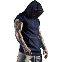 Lomon Camiseta deportiva para hombre, sin mangas, con bolsillos