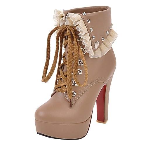 Tefamore Botines de Altos Tacón Mujer, Piel con Plataforma Cuero Forrados Lace Cordones Zapatos Moda Otoño Invierno Zapatos: Amazon.es: Zapatos y ...