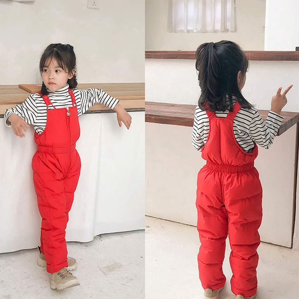 wuayi Kids Baby Boys Girls Solid Color Down Pants Zipper Thicken Warm Overall Jumpsuit Ski Bib Snow Trousers
