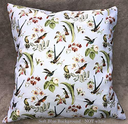 Hummingbirds on Light Blue Accent Pillow Sham Birds Gold Blue Farmhouse Bird Handcrafted Pillow ()