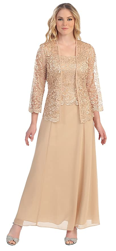 The Dress Outlet Long Formal Lace Dress Jacket Mother of The Bride at Amazon Womens Clothing store: