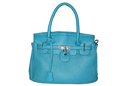 designer inspired handbags bivk  Designer Inspired Faux Leather Satchel Handbag Tote Purse with Lock and Key  in Blue