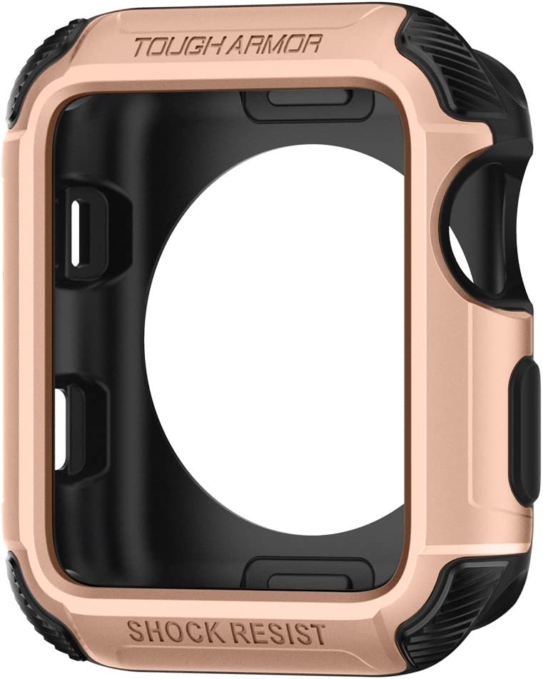 Spigen Tough Armor [2nd Generation] Designed for Apple Watch Case for 42mm Series 3 / Series 2 / Series 1 - Blush Gold
