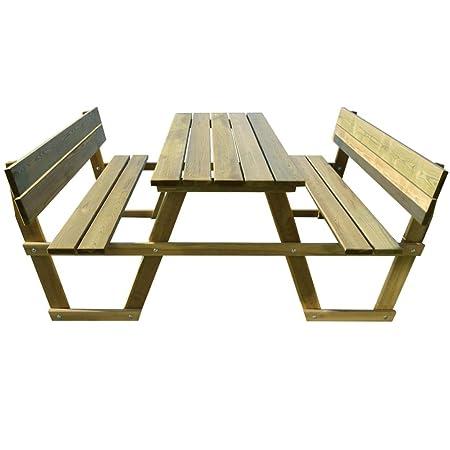 Mesa de picnic con respaldo Madera de pino Impermeabilizada ...