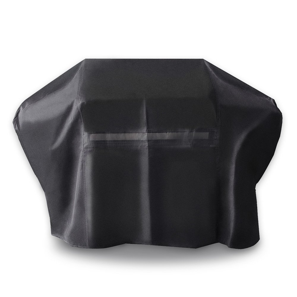 iCOVER-Grill-Cover-60 Inch UV Resistant 600D Heavy-Duty Water Proof Patio Outdoor Canvas BBQ Cover Barbecue Smoker Grill Cover for Weber Char-Broil Brinkmann Holland and JennAir, Black, G21604
