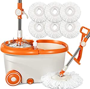 Microfiber Spin Mop and Bucket with Wringer Set with 7Pcs Mop Refills 9.6L Stainless Steel Mop Bucket System on Wheels for Home Kitchen Floor Cleaning