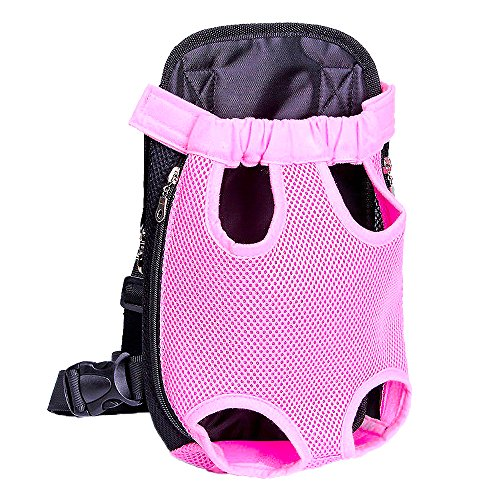 French Bulldog Baby Carrier Adjustable Breathable Mesh Make Dogs In The Pet Bag Won't Feel Stuffy Or Uncomfortable Extra Fixing Holder can Adjust Size Or Take Off Backpack Carrier Durable Small Pink