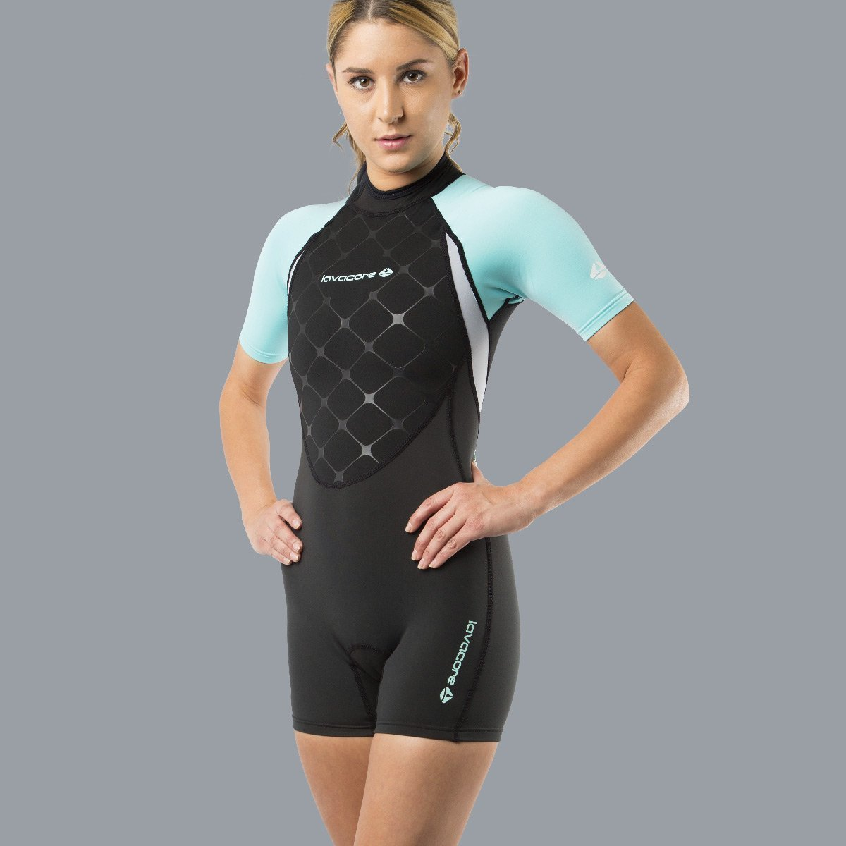 New Women's LavaCore LavaSkin Sporty Shorty Wetsuit - Green (Size 2X-Small) for Scuba Diving, Surfing, Kayaking, Rafting, Paddling & Many Other WaterSports