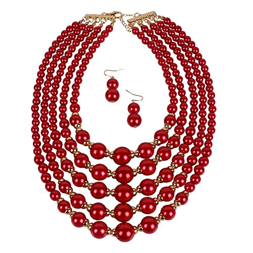 KOSMOS-LI Women's Simulated Faux Five Multi-Strand Red Pearl Statement Necklace and Earrings Set ()