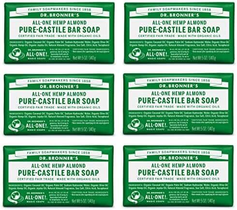 Dr. Bronner's Pure-Castile Bar Soap - Almond, 5 oz (6 Pack)
