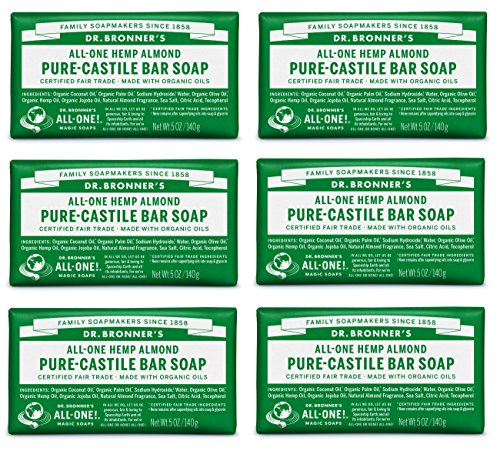 Dr. Bronner's Pure-Castile Bar Soap - Almond, 5 oz (6 Pack)