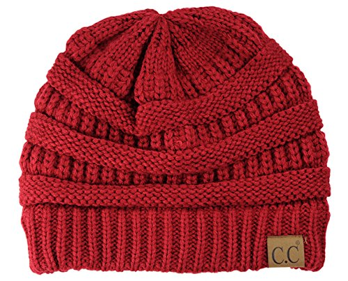 Trendy Warm Chunky Soft Stretch Cable Knit Beanie Skully, Cardinal