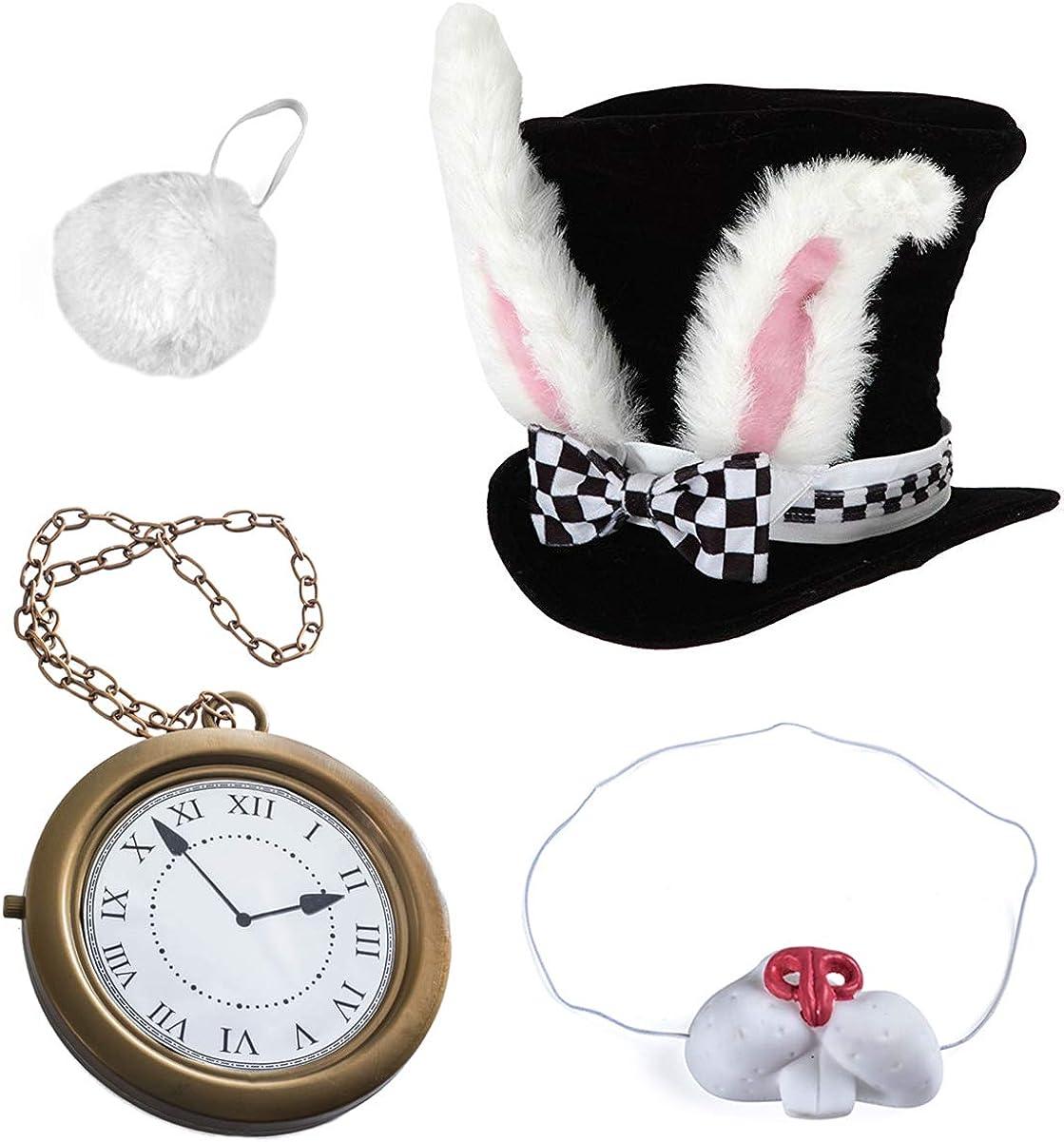 Tigerdoe White Rabbit Costume - Rabbit Costume - Bunny Costume (4 Pc Costume)- Playing Cards Costume 4 Pk