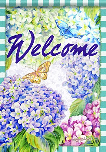 Carson Home Accents Flagtrends Classic Garden Flag, Welcome Hydrangea (Welcome Hydrangea)