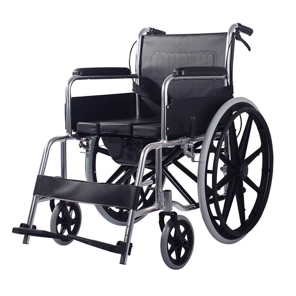 Wheelchair Silla De Ruedas Manual con Inodoro,Movilidad Liviana con Frenos Altura Reposapiés Ajustable Inodoro para Personas Mayores con Discapacidades para ...