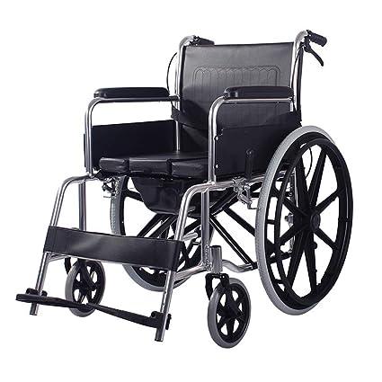 Wheelchair Silla De Ruedas Manual con Inodoro,Movilidad Liviana con Frenos Altura Reposapiés Ajustable Inodoro