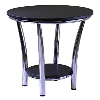 Beau Black Chrome End Table With Shelf Storage Wooden Metal Round Modern Open  End Side Table Telephone