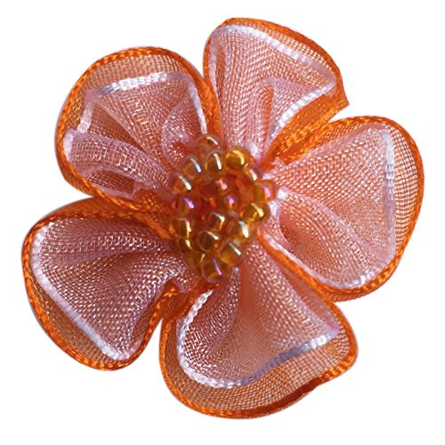 Orange Flower Beads - Chenkou Craft 40pcs Organza Ribbon Flowers with Beads Appliques (Orange)