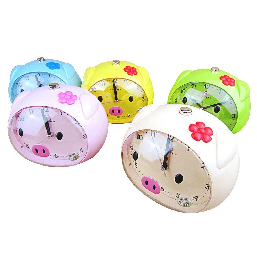 Non Ticking Analog Alarm Clock with Snooze and Nightlight, Kaimao Cartoon Pig Desk Clocks for Kids(Blue)