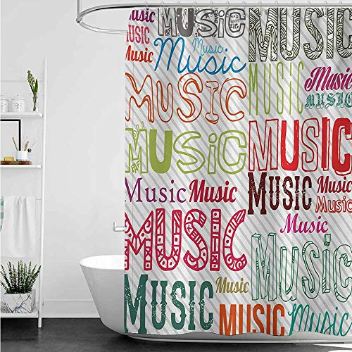 home1love Hotel Style Shower Curtain,Modern Music Typography in Various Styles Rhythm Acoustic Harmony Melody Funky Illustration,Fashionable Pattern,W60x72L,Multicolor (Best Melodies In Tamil)