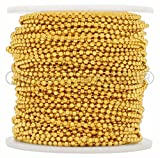 CleverDelights Ball Chain Spool - 100 Feet - 2.0mm Ball - Gold Color - Bulk Chain Roll