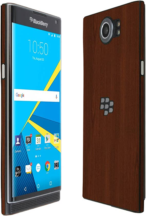 Skinomi Dark Wood Full Body Skin Compatible with BlackBerry Priv Full Coverage TechSkin with Anti-Bubble Clear Film Screen Protector