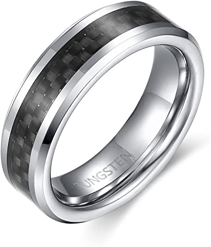 Tungsten Carbide Black Carbon Fiber Inlaid on Brushed Center 7mm Wedding Band Ring 9.5 Size