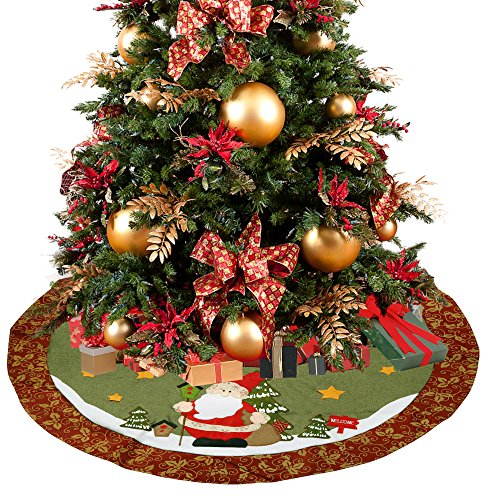 D-FantiX 48 Inch Santa Christmas Tree Skirt with Red Floral Rim Christmas Decorations Large (Skirt For Christmas Instructions Tree)