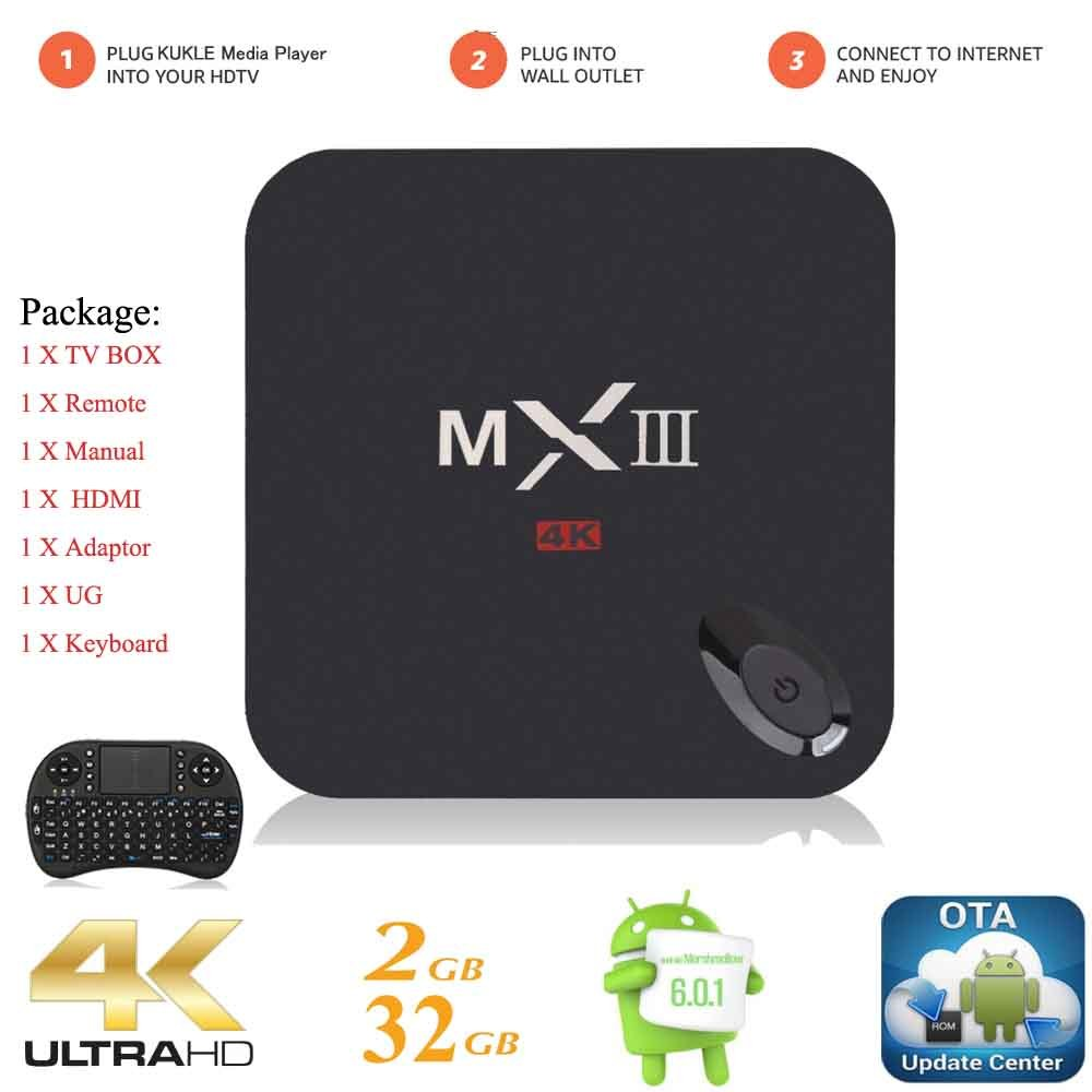 Kukele MXIII Internet Streaming Media Player [K-U Updator/S912/2GB+32GB/Octa Core/4K/Instruction/Wireless Keyboard] Android 6.0 Marshmallow TV Box Media Center