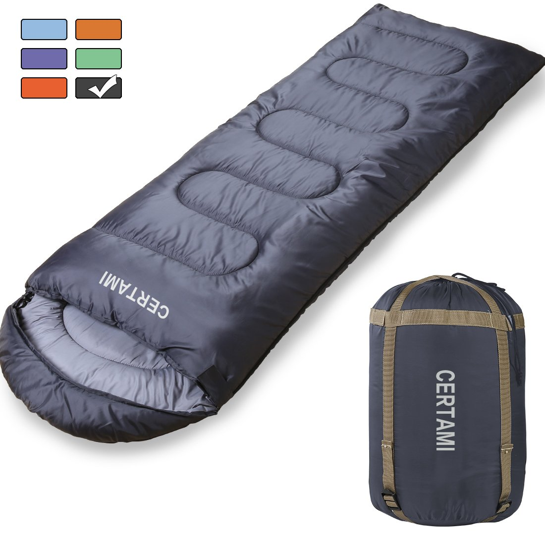 CERTAMI Sleeping Bag -Envelope Lightweight Portable Waterproof,for Adult 3 Season Outdoor Camping Hiking. (Dark Grey/Left Zip) by CERTAMI