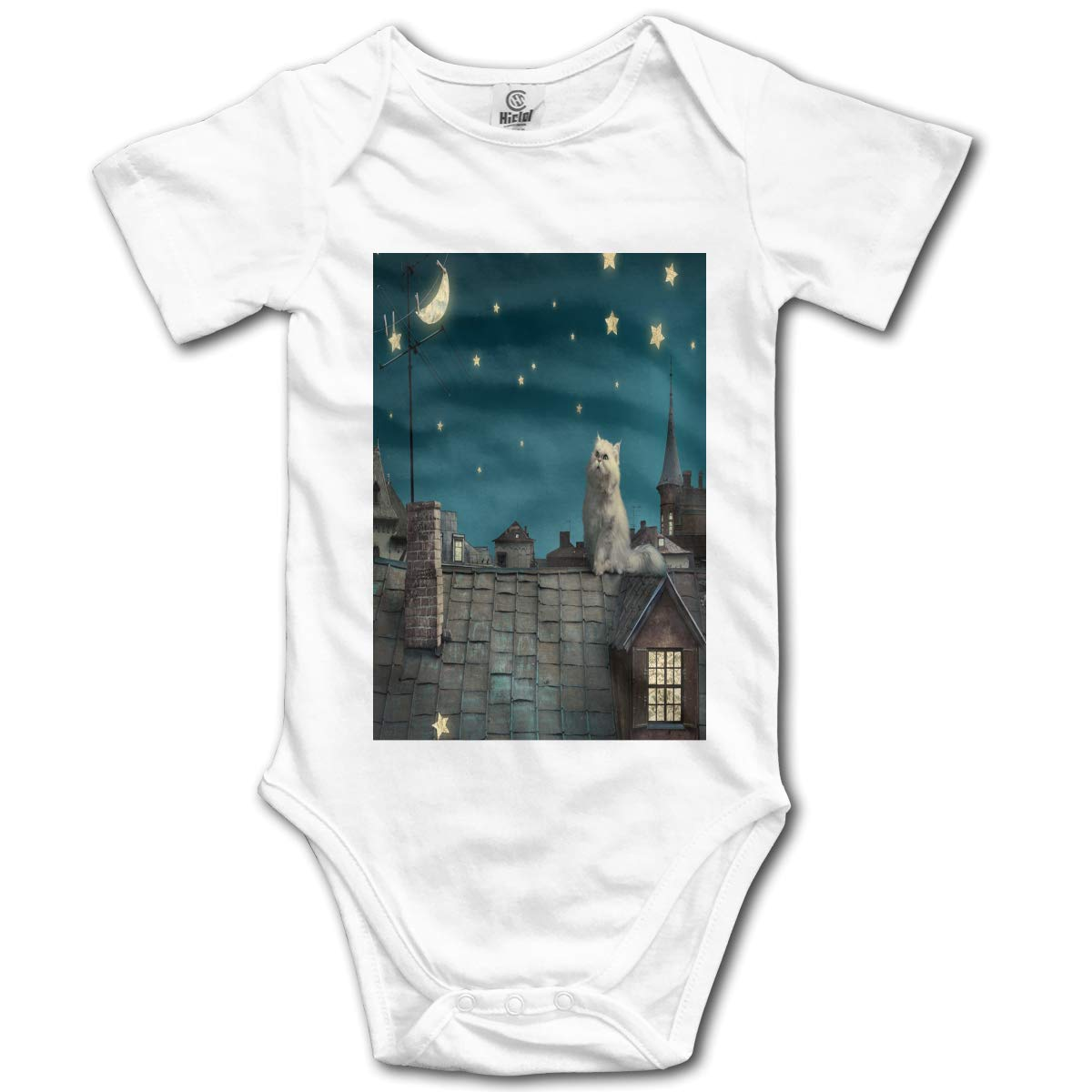 Cat on The Night Roof Boys /& Girls Black Short Sleeve Romper Bodysuit Outfits for 0-24 Months