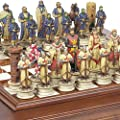 Hand Painted Crusade Chessmen & Alabastro Cabinet Chess Board From Italy. KING: 4 1/2""