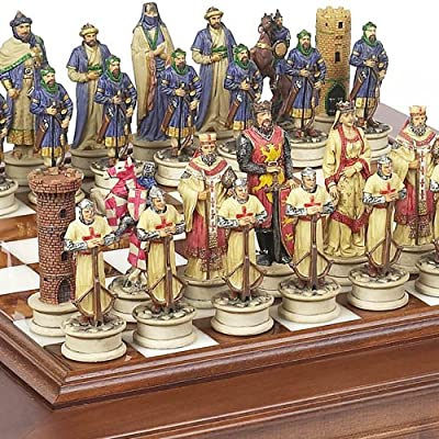 """Hand Painted Crusade Chessmen & Alabastro Cabinet Chess Board From Italy. KING: 4 1/2"""""""