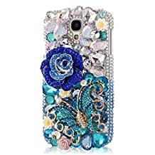 EVTECH(TM) 3D Handmade Crystal Rhinestone Beads Crystal Diamond Bling Cover Hard PC Back Case for Samsung Galaxy S4 9500 9505 M919 not fit S4 active version(100% Handcrafted)