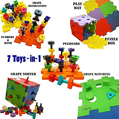 Skoolzy Shapes Puzzles for Toddlers - Educational Color Matching & Shape Sorter Montessori Toys for Toddlers, Preschoolers and Occupational - Peg Board Fine Motor Skills Learning Toy: Toys & Games